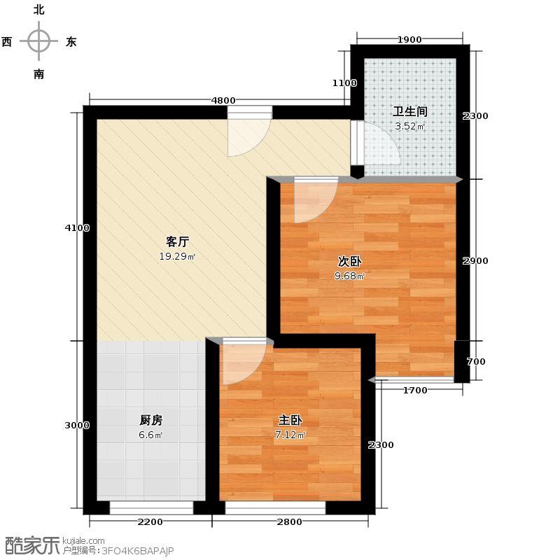 卡斯摩小院55.58㎡C户型2室1厅1卫