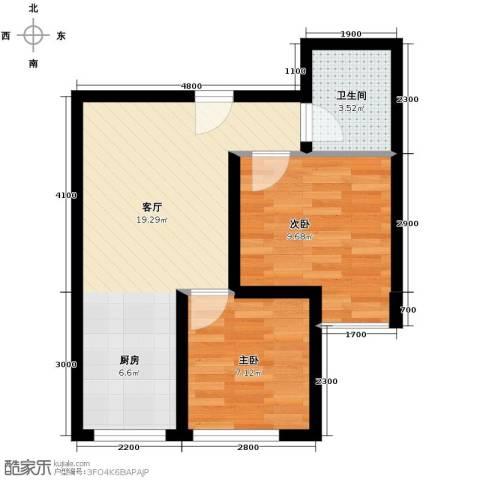 卡斯摩小院2室1厅1卫0厨45.75㎡户型图