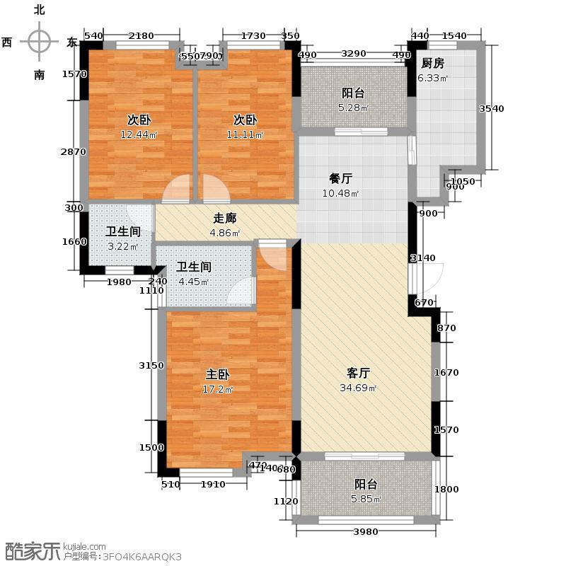 保利心语123.00㎡六期A3户型3室2厅2卫