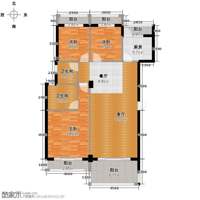 中华名园132.03㎡E+型户型3室1厅2卫1厨