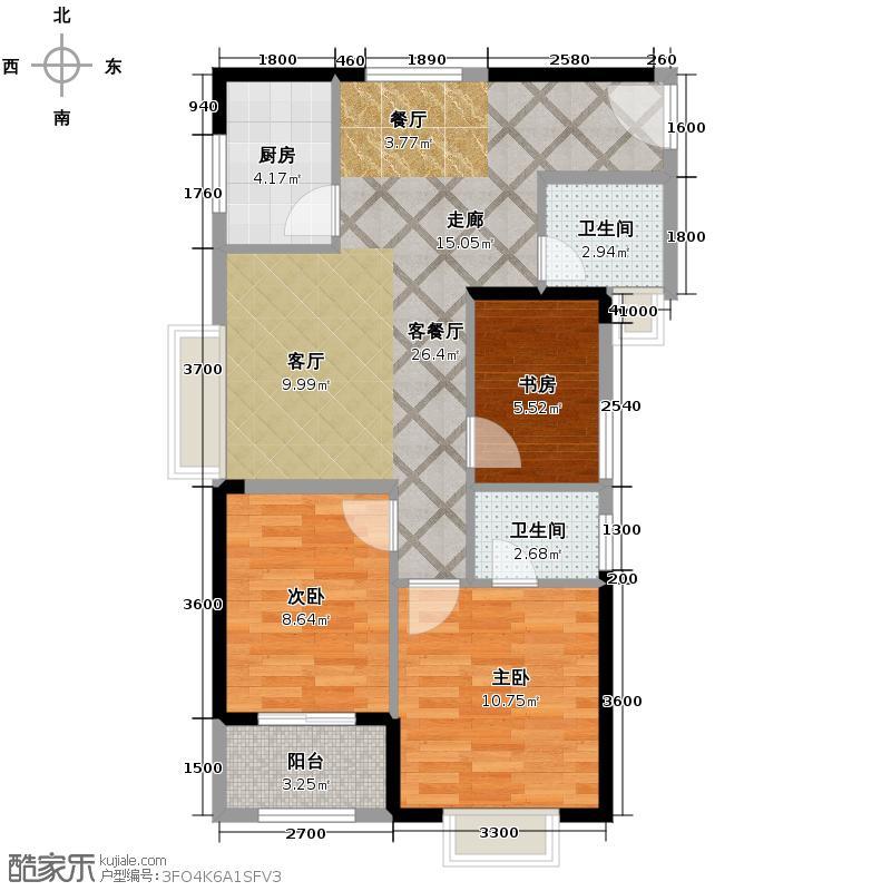 宇洋西海广场88.57㎡A1户型3室2厅2卫