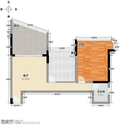 广州雅居乐花园1室1厅1卫1厨93.00㎡户型图