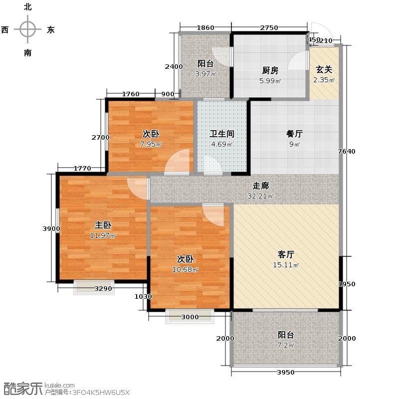 楠香山92.86㎡B5型户型3室1卫1厨