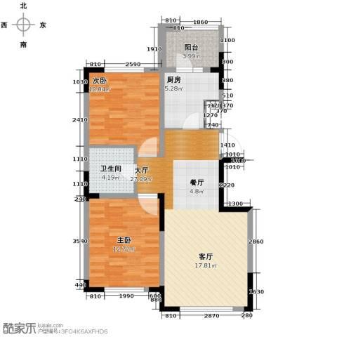观澜湖别墅2室2厅1卫0厨90.00㎡户型图