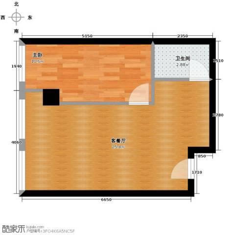 尚品国际1室1厅1卫0厨43.55㎡户型图