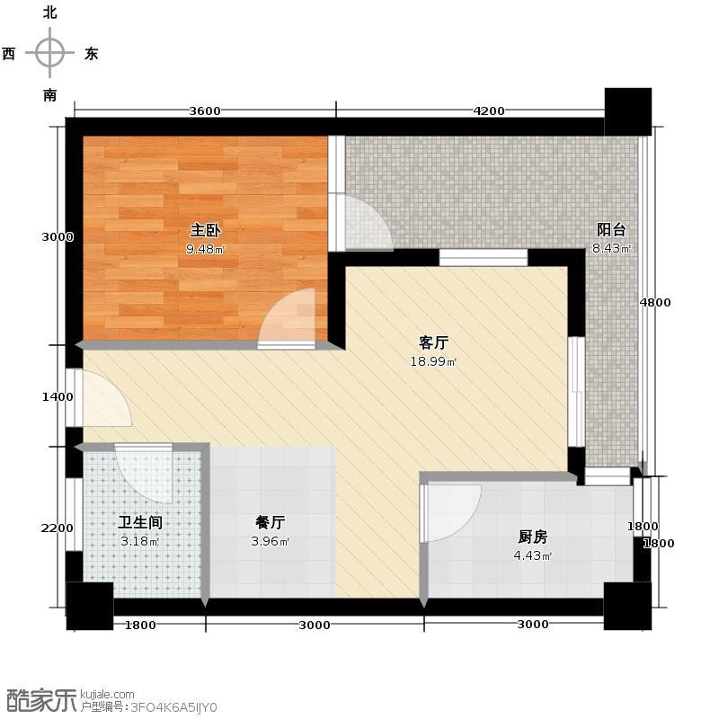兰波红城丽景46.35㎡二期A3栋标准层C53号房户型1室1厅1卫1厨