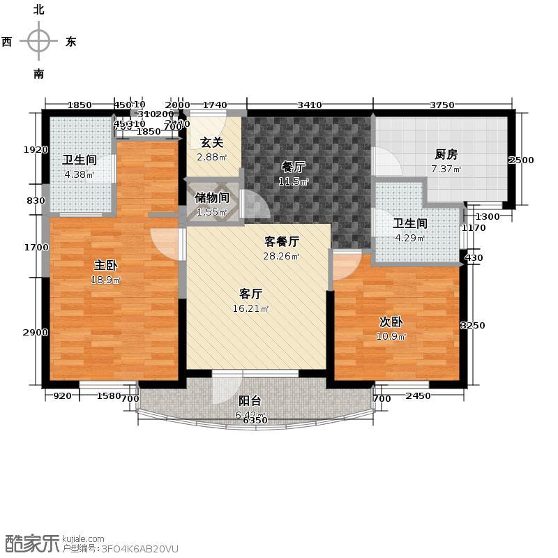 仁恒海河广场106.00㎡3号楼A户型10室