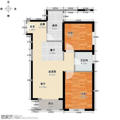 北宁湾2室2厅1卫0厨92.00㎡户型图