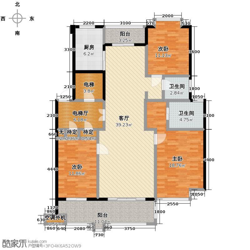 洪城东公馆136.00㎡J1户型3室2厅2卫