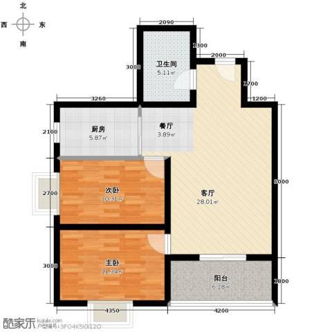佳境观邸2室1厅1卫1厨95.00㎡户型图
