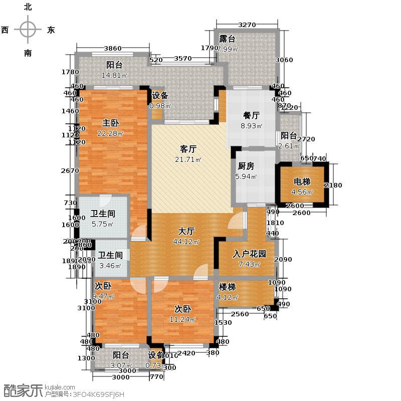 蓝溪谷地127.19㎡尚郡一期39栋第2层A户型3室2卫1厨