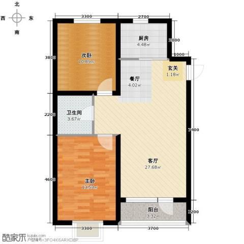 欧博城2室2厅1卫0厨90.00㎡户型图