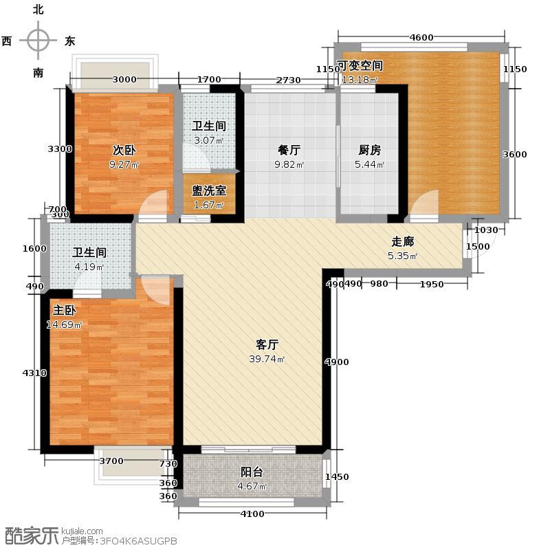 建发金沙里122.00㎡A2户型2室1厅2卫1厨