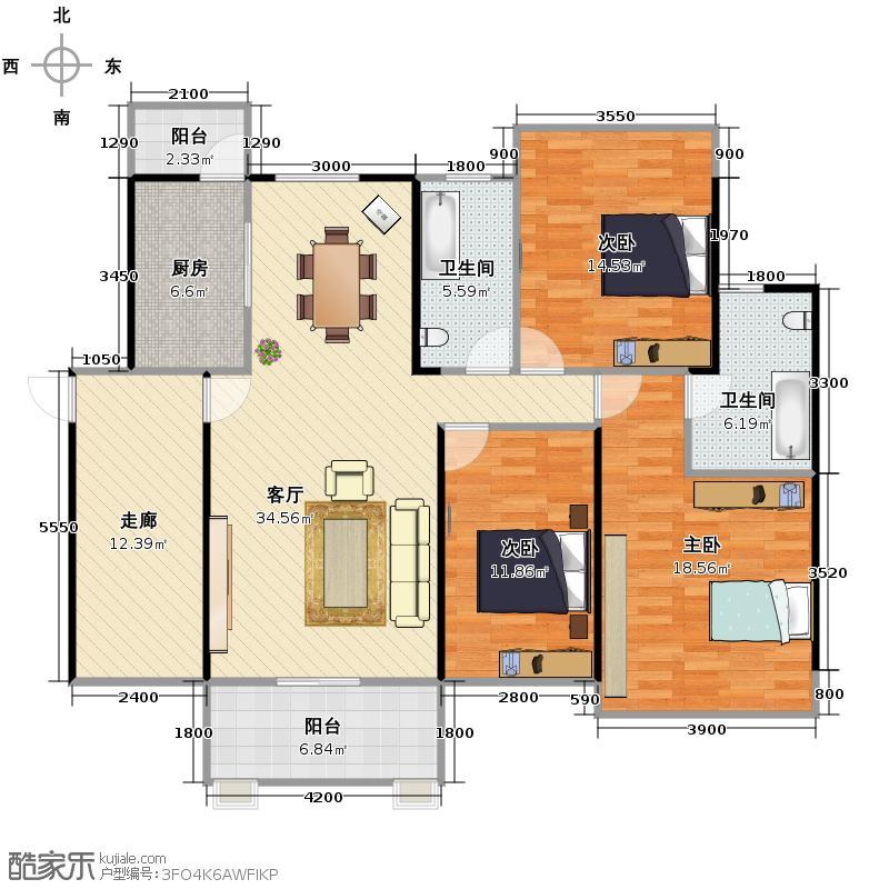 瀚林雅筑128.30㎡3#户型3室1厅2卫1厨