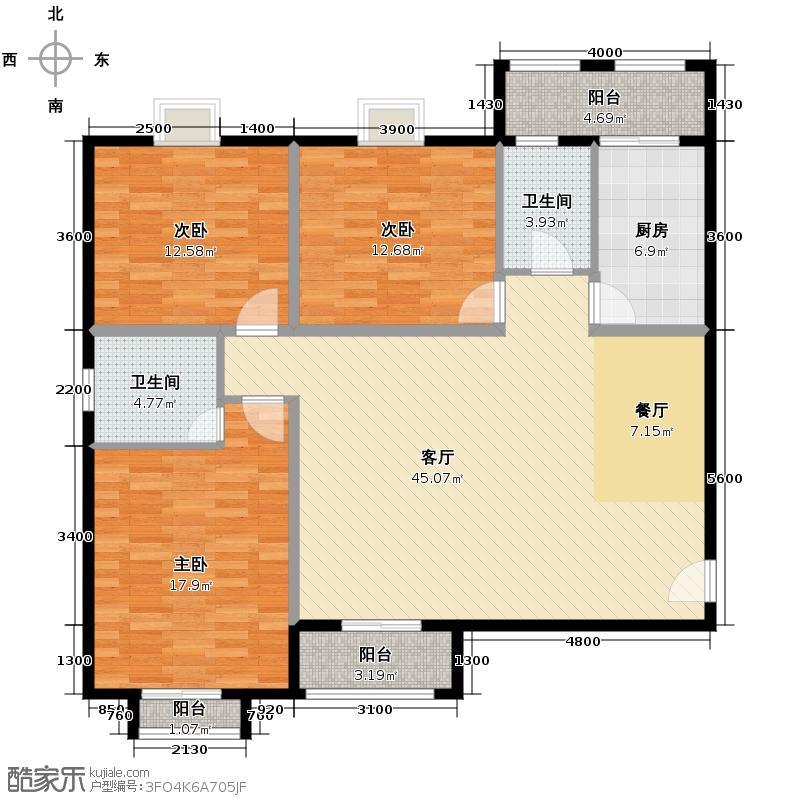 府东公园6栋125.00㎡二期D1座0户型3室2厅1卫