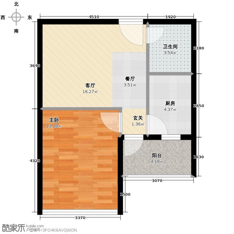 兰亭熙园54.76㎡2栋05/07号户型1室1厅1卫1厨