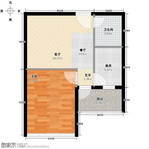 兰亭熙园1室1厅1卫1厨55.00㎡户型图