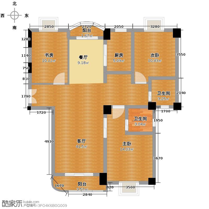 东方御景123.78㎡2#楼4-13F-C户型10室