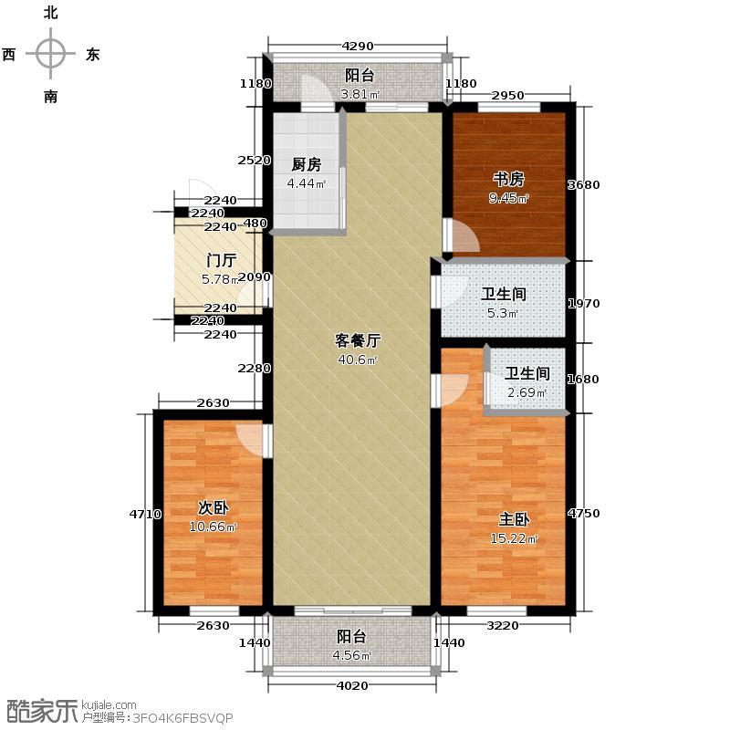 冠城国际140.23㎡2号楼d户型3室2厅2卫