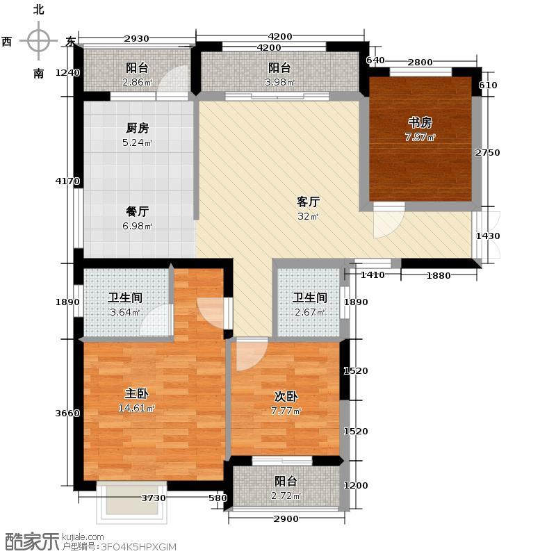 枫华府第115.00㎡G22户型3室2厅2卫