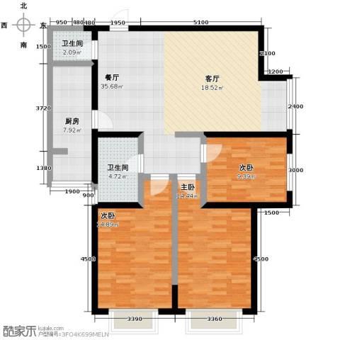 艾博都泊林3室1厅2卫0厨129.00㎡户型图
