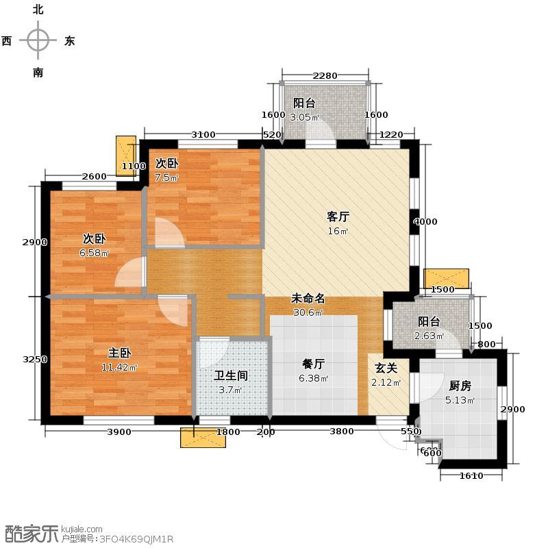 当代国际花园十五区高层87.40㎡户型3室2厅1卫