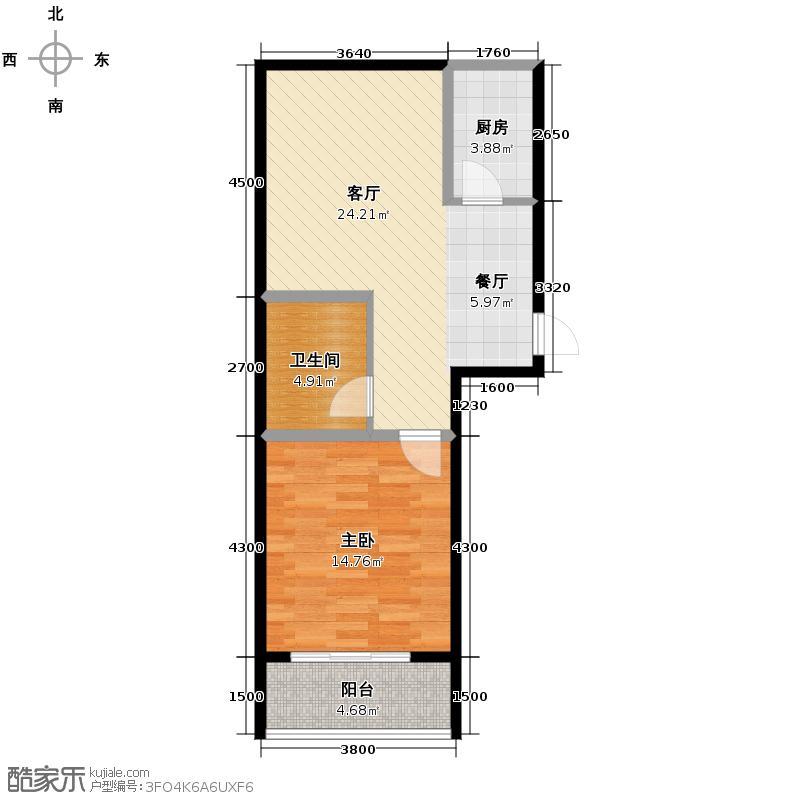 捷瑞新时代76.99㎡C1户型1室1厅1卫1厨