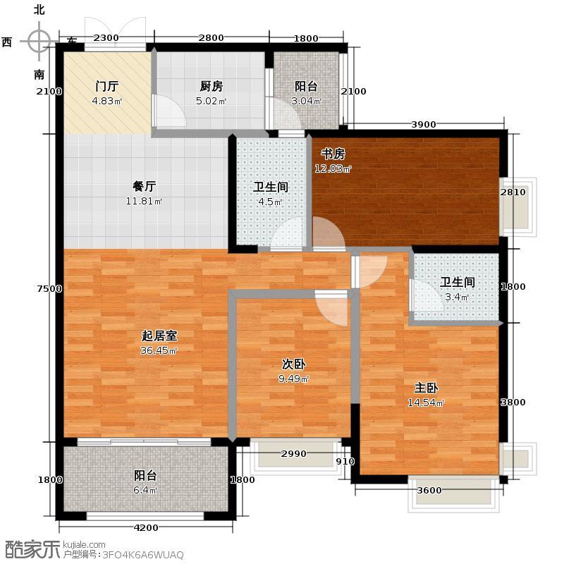 江山帝景116.45㎡户型3室2厅2卫