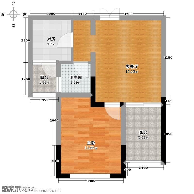 光华观府国际55.02㎡10-5实得户型1室1厅1卫