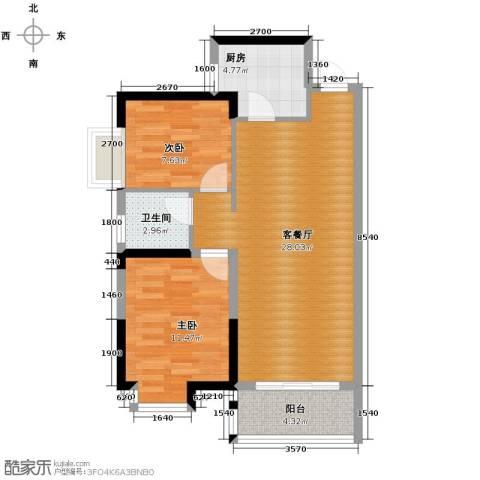 兰亭熙园2室1厅1卫1厨81.00㎡户型图
