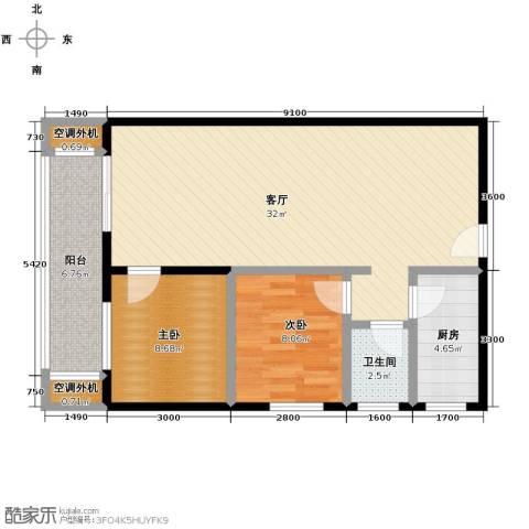 银轩铭誉2室1厅1卫1厨84.00㎡户型图