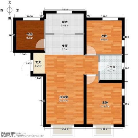 远洋城3室2厅1卫0厨100.00㎡户型图
