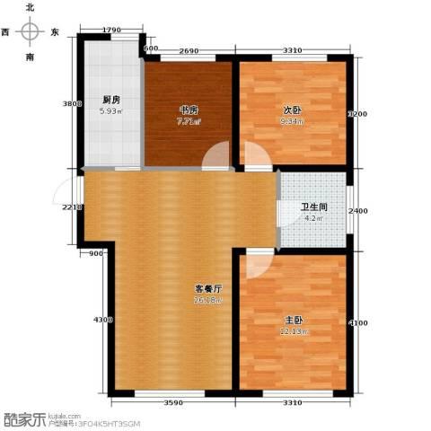 远洋城3室2厅1卫0厨105.00㎡户型图