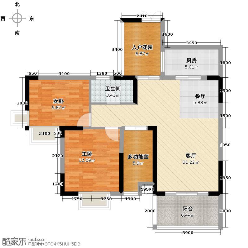 宏达世纪锦城99.00㎡2011年4月开盘3号楼A3-单卫-户型2室2厅1卫