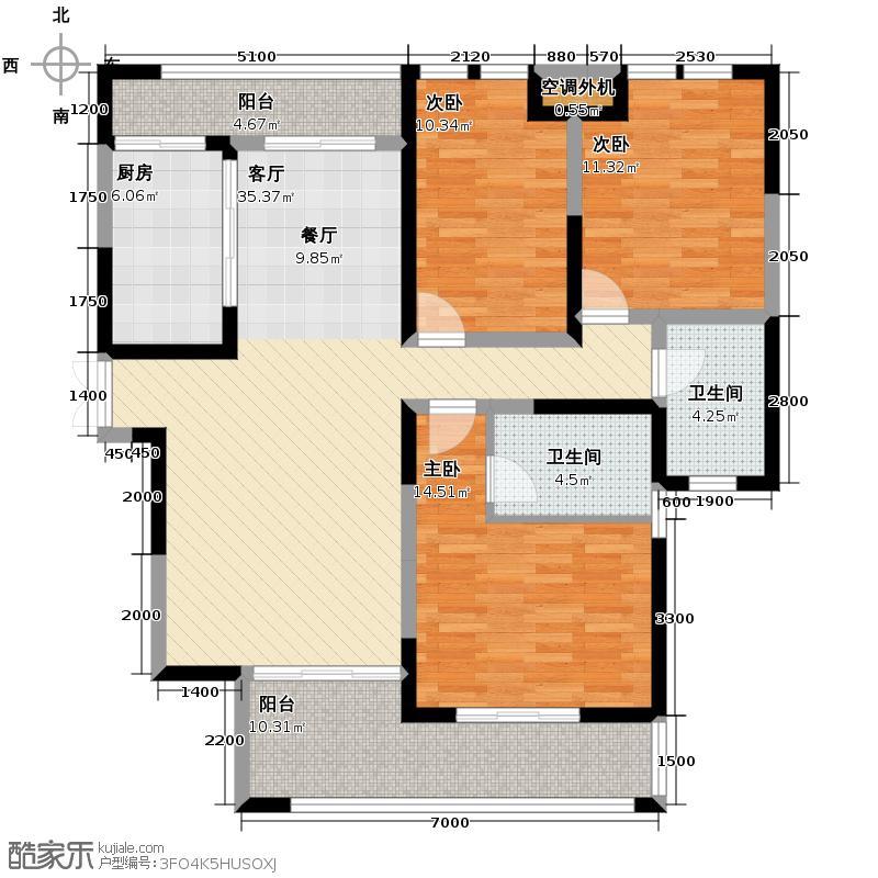 第六都135.25㎡10#A户型3室2厅2卫