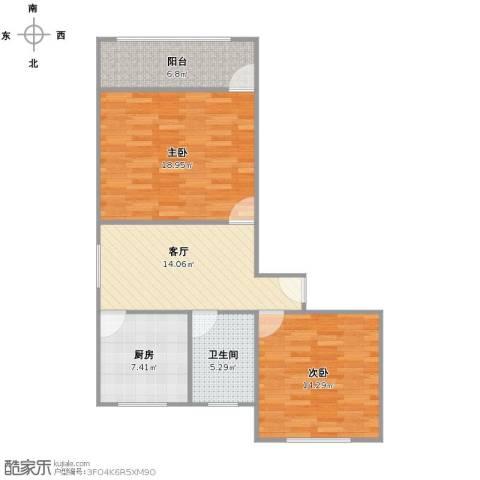 罗山五村2室1厅1卫1厨90.00㎡户型图