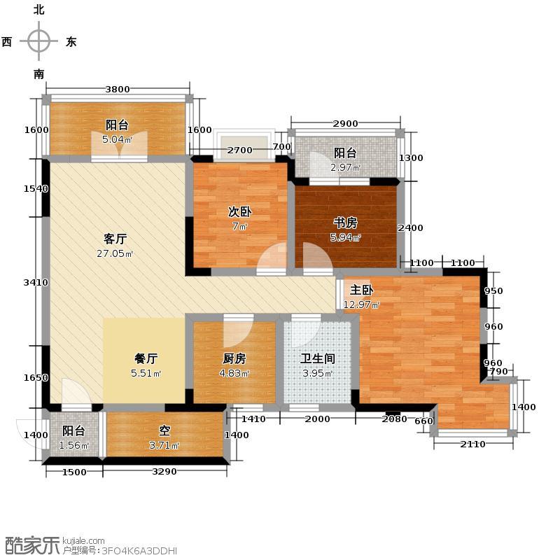 中御公馆86.75㎡3号楼C1户型3室2厅1卫