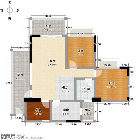 广州雅居乐花园1室1厅1卫1厨123.00㎡户型图