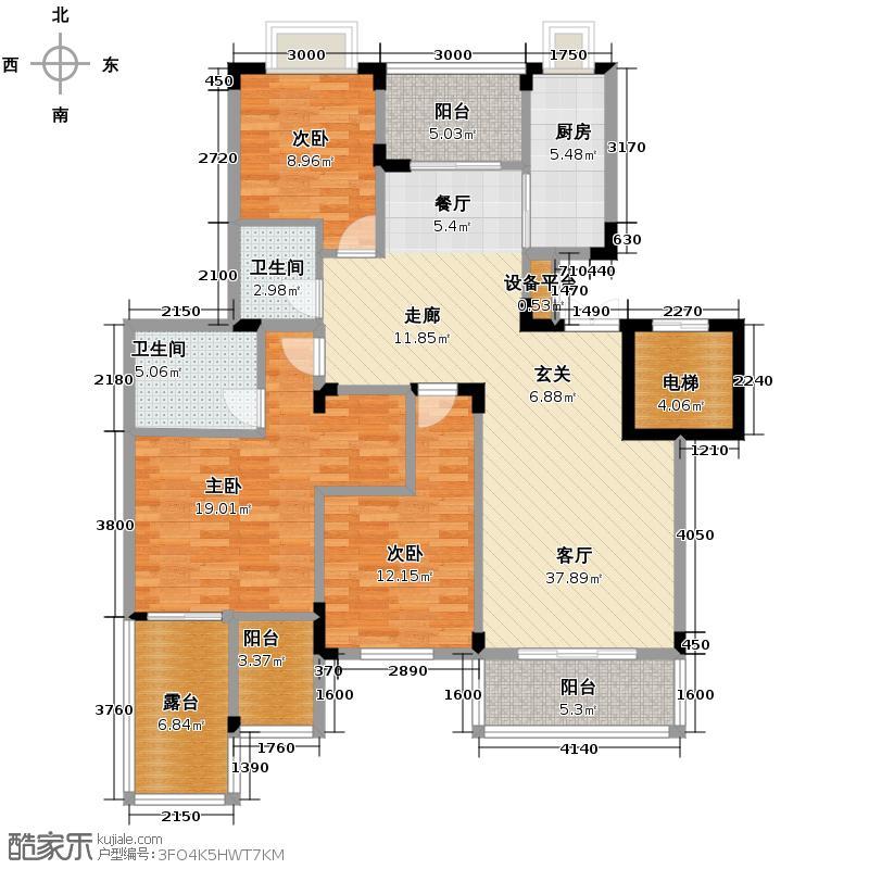 和泓四季113.00㎡一期洋房第19栋标准层B型4F户型3室2厅2卫