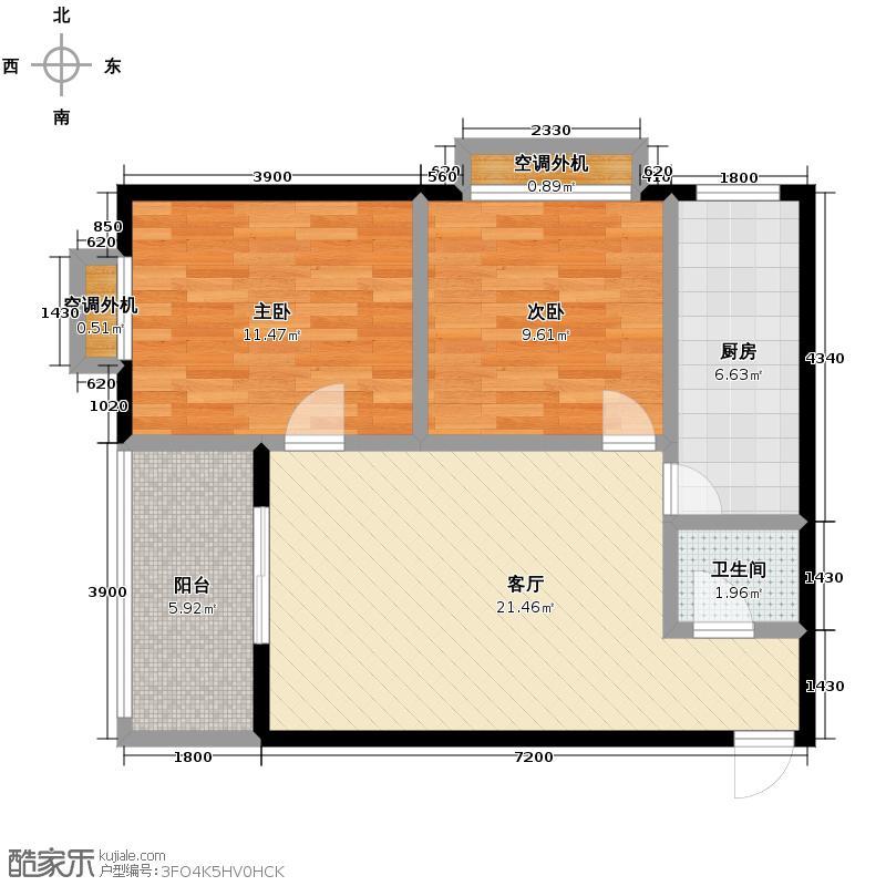 聚福园80.13㎡A型结构户型2室1厅1卫1厨