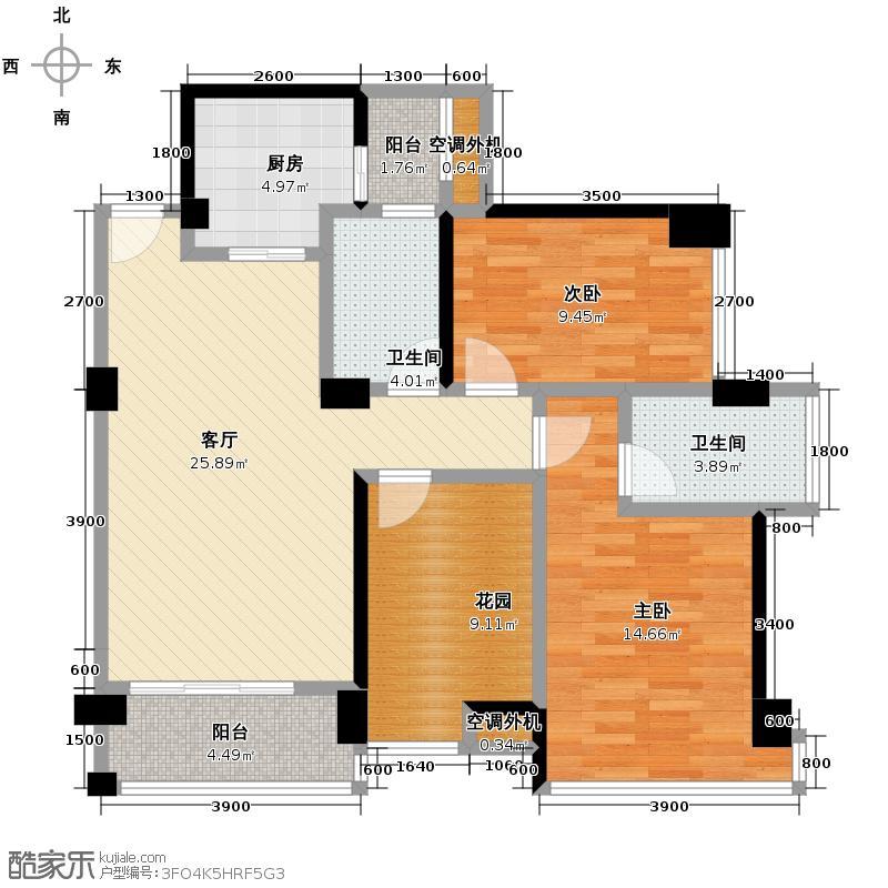 戛纳湾87.91㎡观滩风庭2011年1月在售户型2室2厅2卫