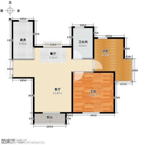 爱尚公寓2室2厅1卫0厨88.00㎡户型图