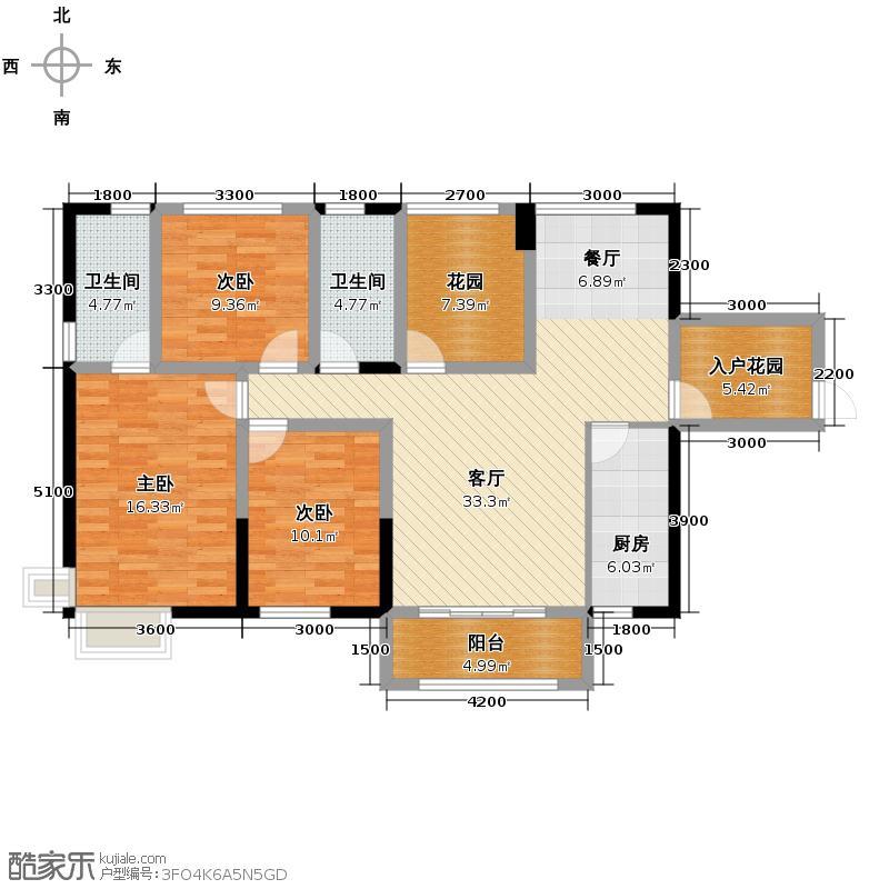 潇湘奥林匹克花园133.00㎡户型2室2厅2卫
