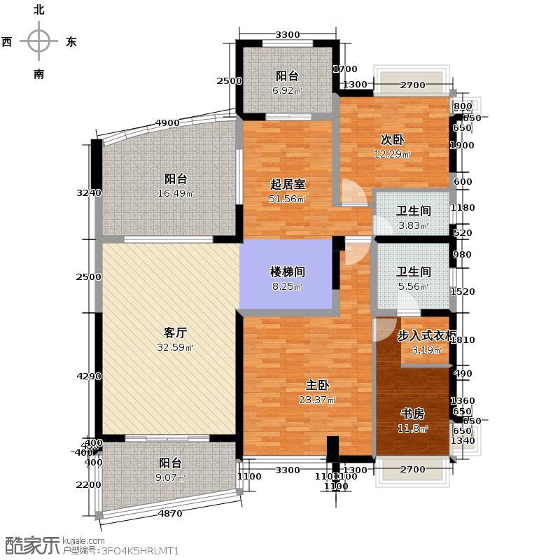 成都雅居乐花园284.75㎡C2型风尚三错层户型6室3厅4卫