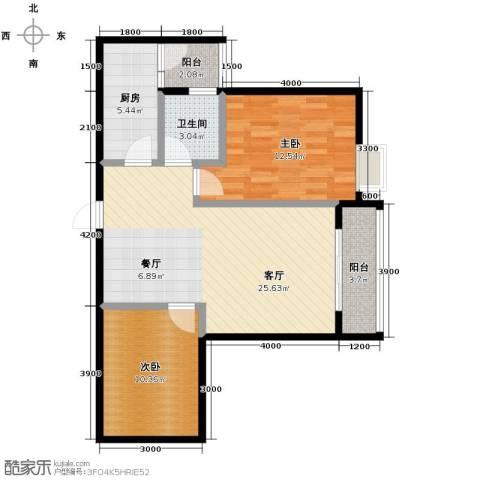 五星国色天香2室1厅1卫1厨89.00㎡户型图
