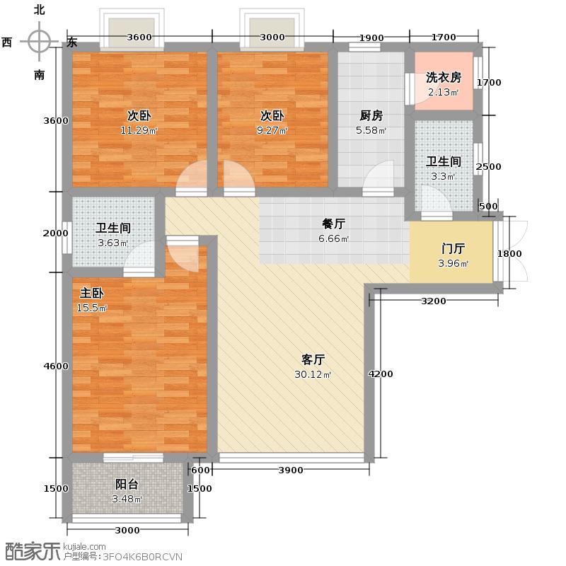 铭城16号124.39㎡A1号楼赠户型3室1厅2卫1厨
