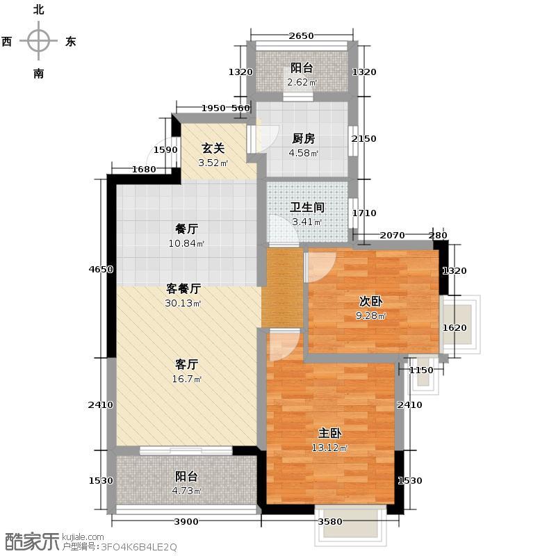 嘉瑞国际89.30㎡户型2室1厅1卫1厨