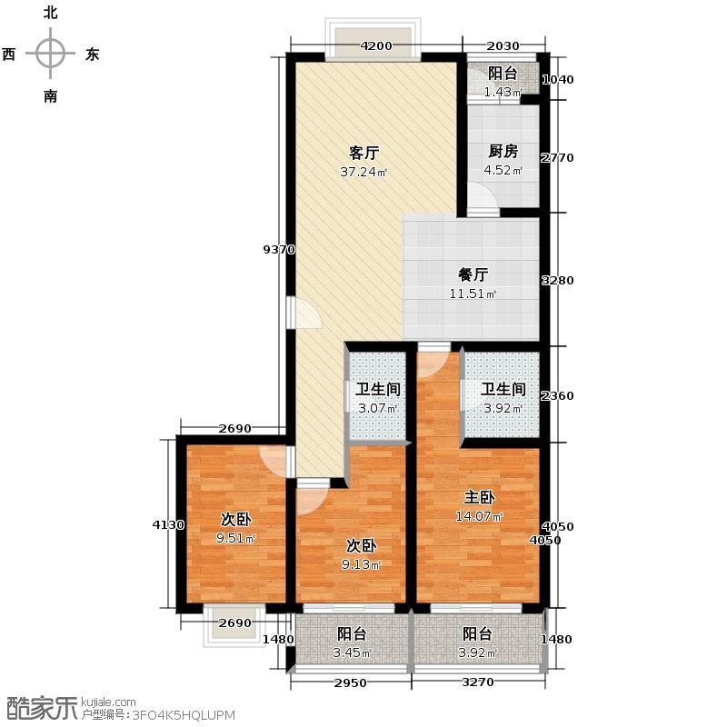 御景苑136.00㎡E户型3室2厅2卫