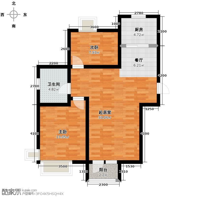 中建御景华庭95.00㎡2B-2户型2室2厅1卫