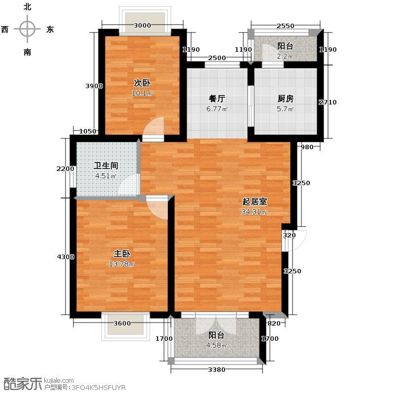 香水湾103.89㎡C户型2室2厅1卫